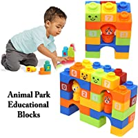 SR Toys Plastic Building Blocks with Cartoon Figures, Bag Packing, for Kids (Multicolour) - Set of 30 Pieces