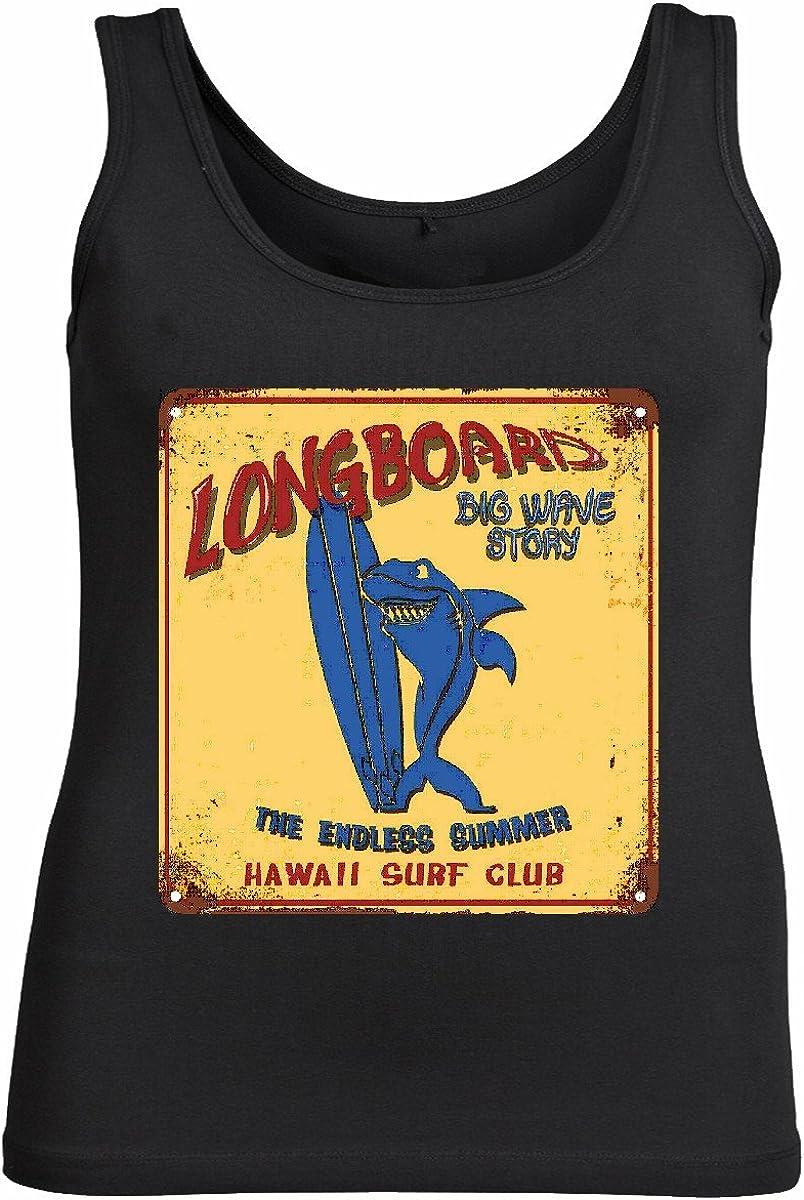 Camisa del músculo Tank Top Longboard Onda Grande Historia Hawaii Surf Club Surf Beach Tablas Longboard Olas de Surf Beginner Shop Sin Mangas para Las Mujeres y los Hombres en Negro: Amazon.es:
