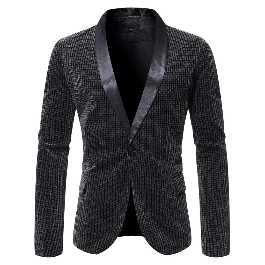 WINJUD Mens Blazer Slim One Button Patchwork Suit for Business Wedding Party Outwear (Gray,L) by WINJUD