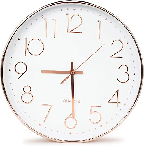 Moksha 12 Inch Modern Wall Clock Silent Non Ticking Easy to Read Decorative Wall Clocks