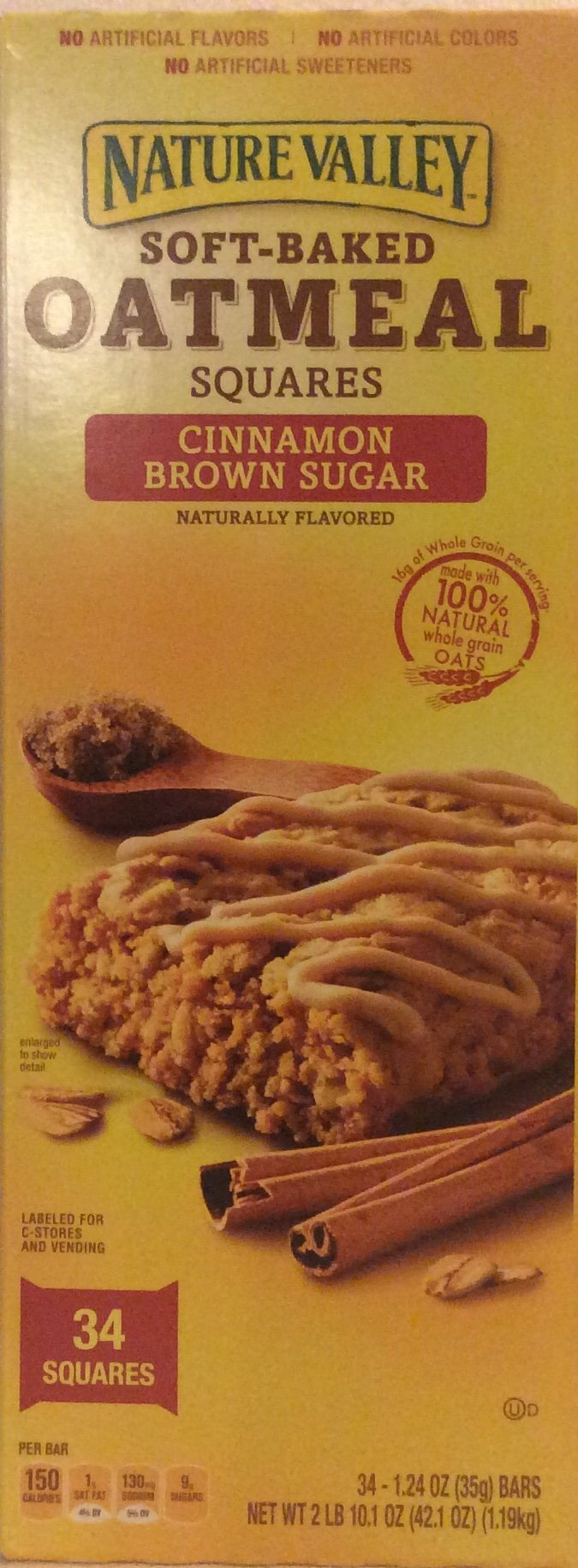 Nature Valley Soft-Baked Oatmeal Squares, Cinnamon Brown Sugar 34ct 1.24oz Each