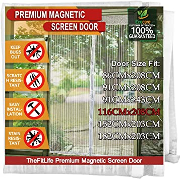 Brown Insect Protection Door No Gap 28/×75inch HXPH Magnetic Fly Screen Door Keep Bugs Out Lets Fresh Air in,70x190cm Heavy Duty Bug Mesh Curtain with Powerful Magnets and Full Frame Magic Tape