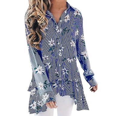 f051cb4ba128 OSYARD Damen Gestreift Gedruckt Umlegekragen Top Bluse Lange, Frauen Damen  Casual Streifen Druck Botton Long Sleeve T-Shirt Tops Bluse  Amazon.de  ...