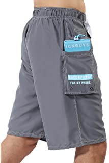 6af679782150e ICNBUYS Swim Trunks Beach Trunks with Waterproof Phone Pouch Pocket Grey  Quick Dry