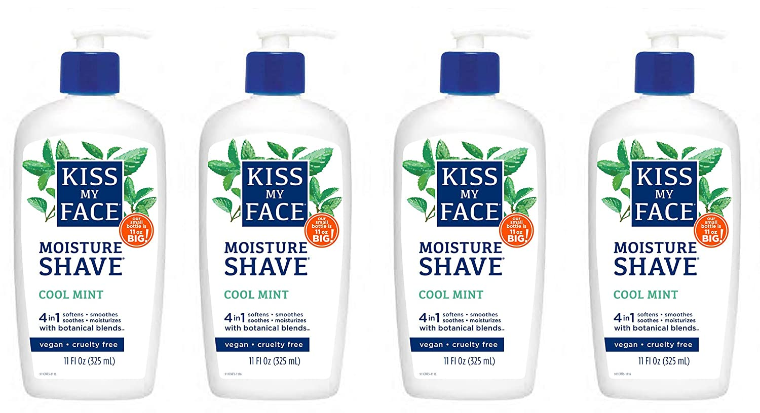 Kiss My Face 4-in-1 Moisture Shave, Cool Mint 11 oz ( Pack of 4)