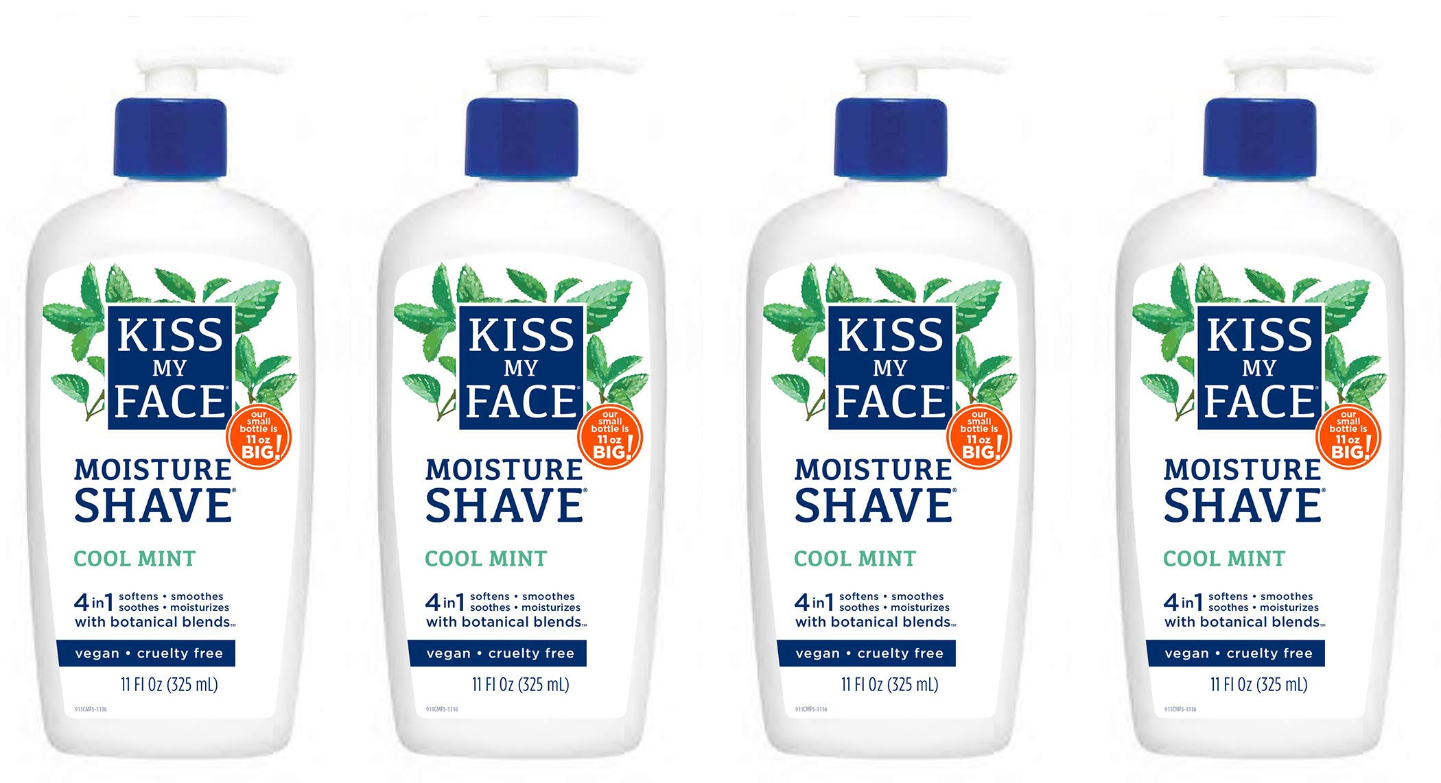 Kiss My Face 4-in-1 Moisture Shave, Cool Mint 11 oz ( Pack of 4) by Kiss My Face