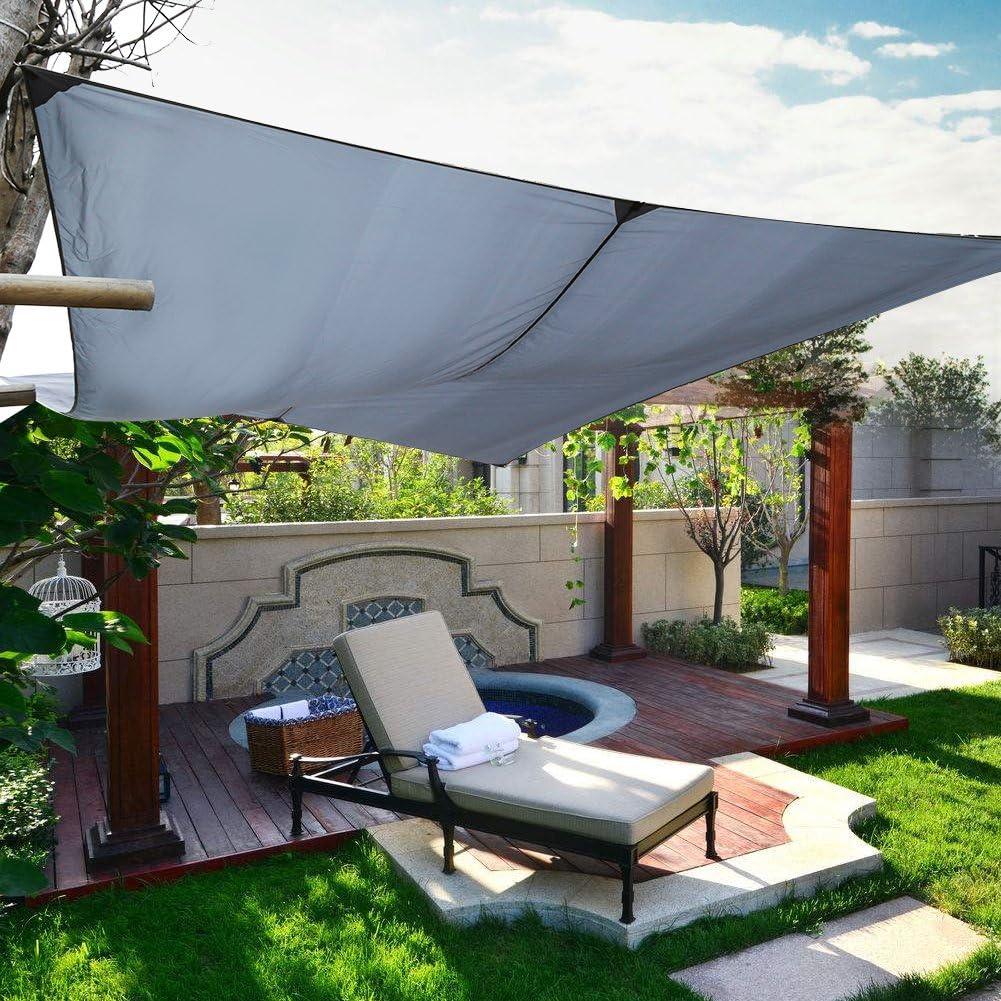 Sonnensegel impermeable, protección del sol Toldo sol sombra – Toldo Solar Wind – Poliéster Nailon 4 x 3 m Gris