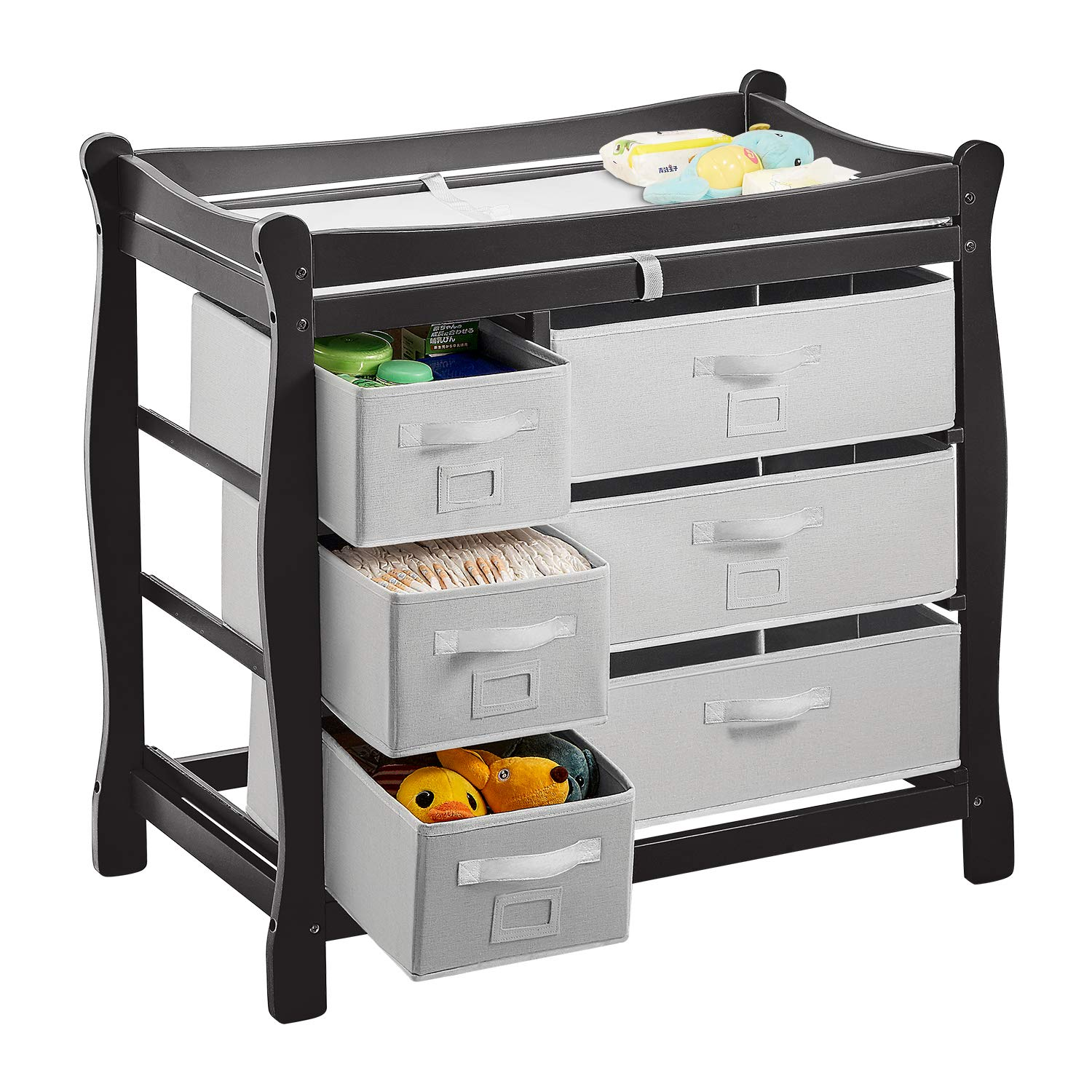 Diaper Changing Table with 6 Baskets Nursery Station with Pad and Safety Strap for Infant Easy to Assemble BPA Free Kealive Baby Changing Table