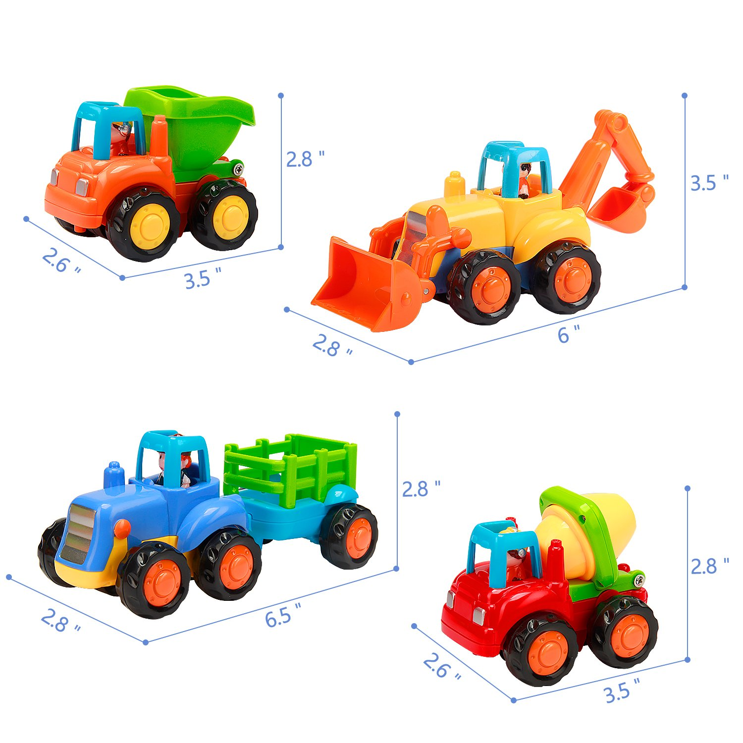 4 Pcs Kids Toys Cars Set Push and Go Cartoon Construction Vehicles Toys Vamslove Friction Powered Cars Early Educational Engineering Gifts Toys for Kids Boys Girls Toddlers Baby 1 2 3 Years Old