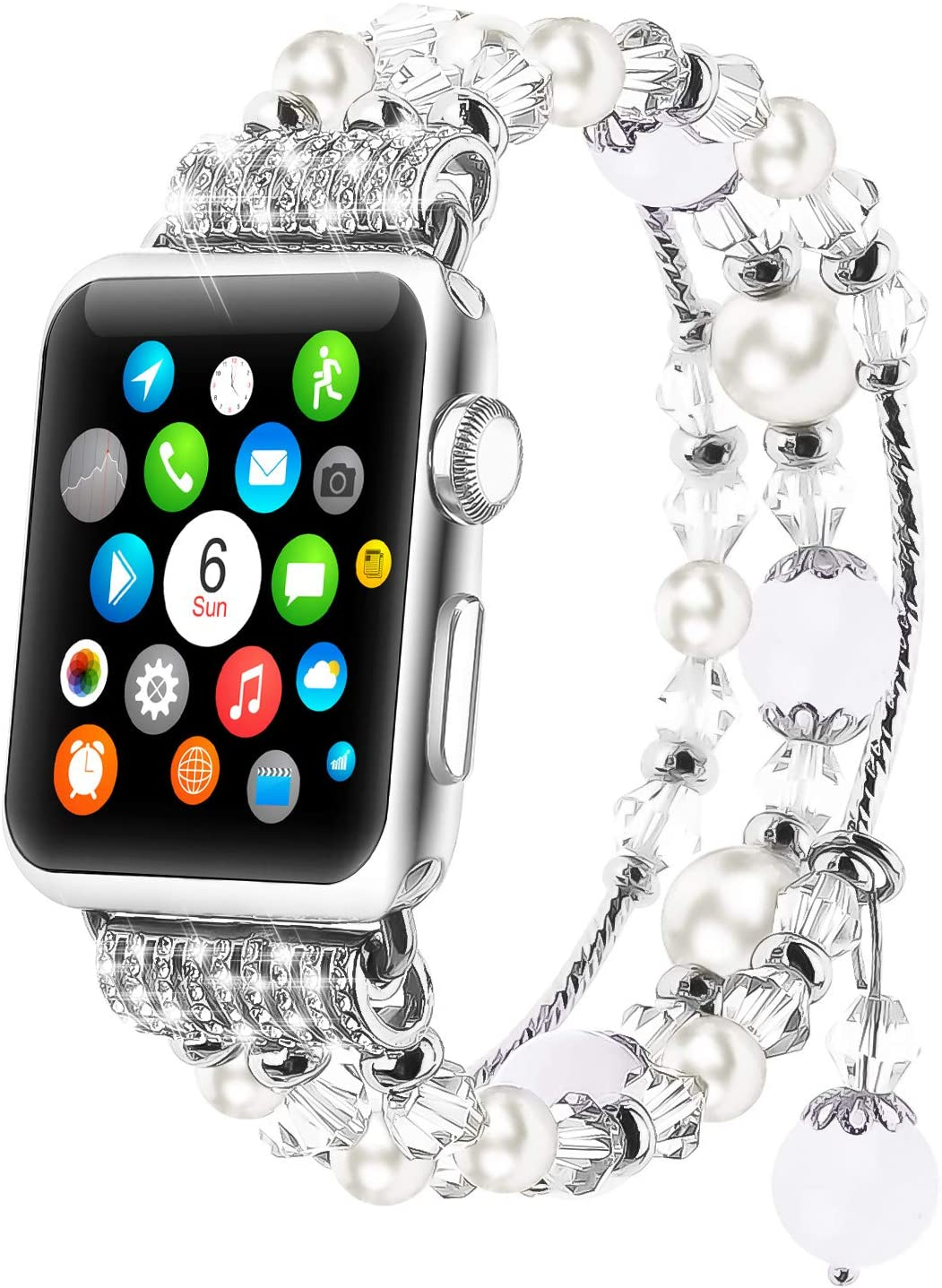 Tomazon Compatible for Apple Watch Band 42 / 44mm Series SE/6/5/4/3/2/1, Fashion Handmade Elastic Stretch Pearl Beads Bracelet Replacement Watchbands for Women Girls, White