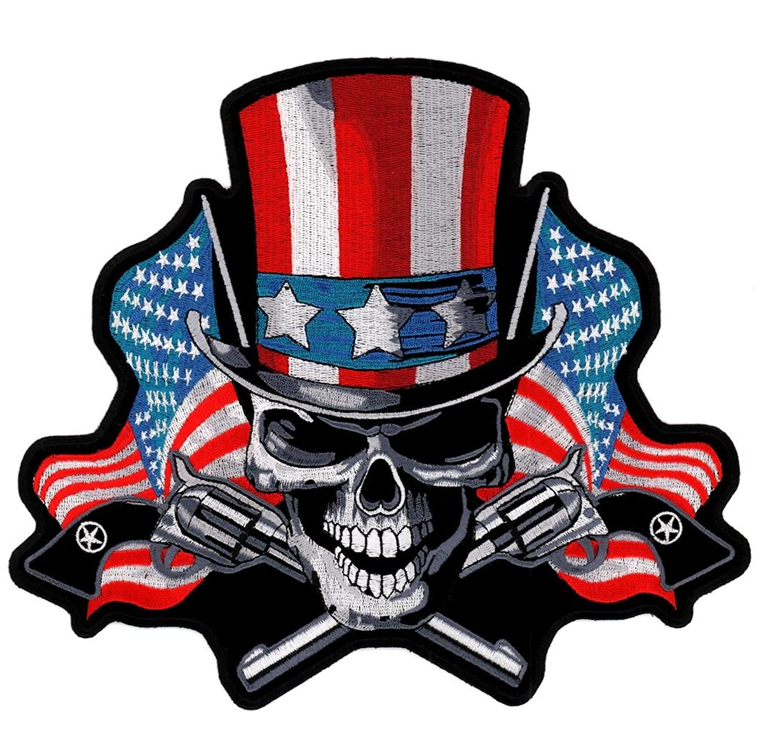 Amazon Angry Uncle Sam Skull American Flag Embroidered Patch
