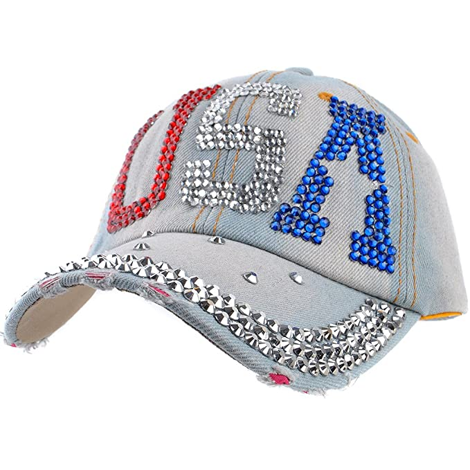 eecbf33e090 Image Unavailable. Image not available for. Color  Elonmo Rhinestone Bling  Hat ...