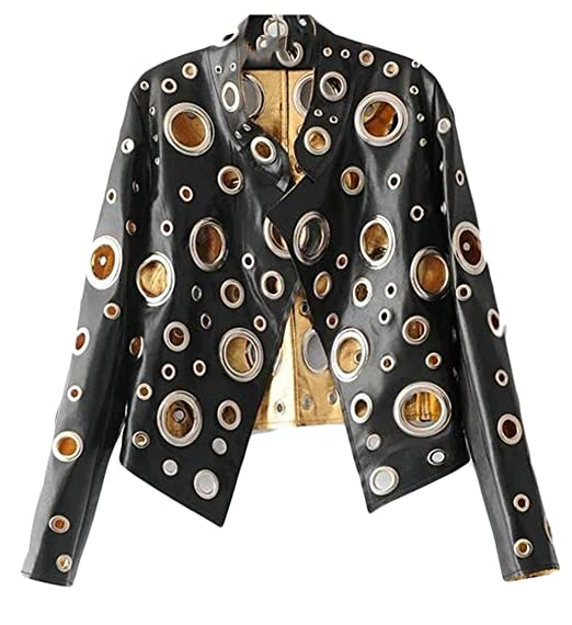 WANSHIYISHE Women Fashion Punk Stand Collar Hole Rock and Roll