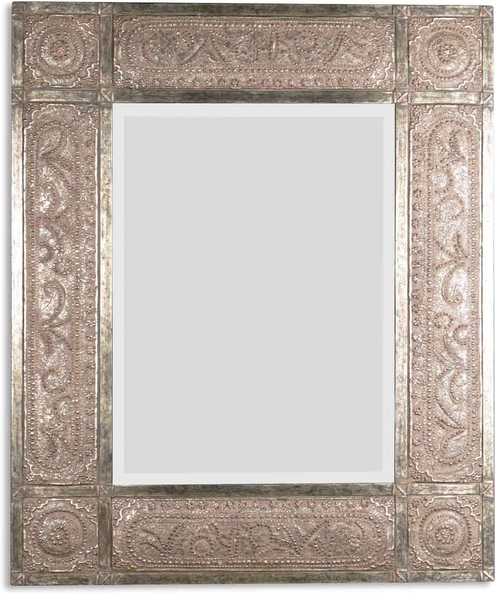 Oversize 60 ANTIQUE Embossed METAL Extra Large Wall Mirror