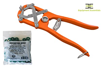 Diamond Cut Edge Elastrator Heavy Duty Tool Bander Pliers for Dogs Goats  Lambs Calves Pigs Veterinary Orange + 100 Bands