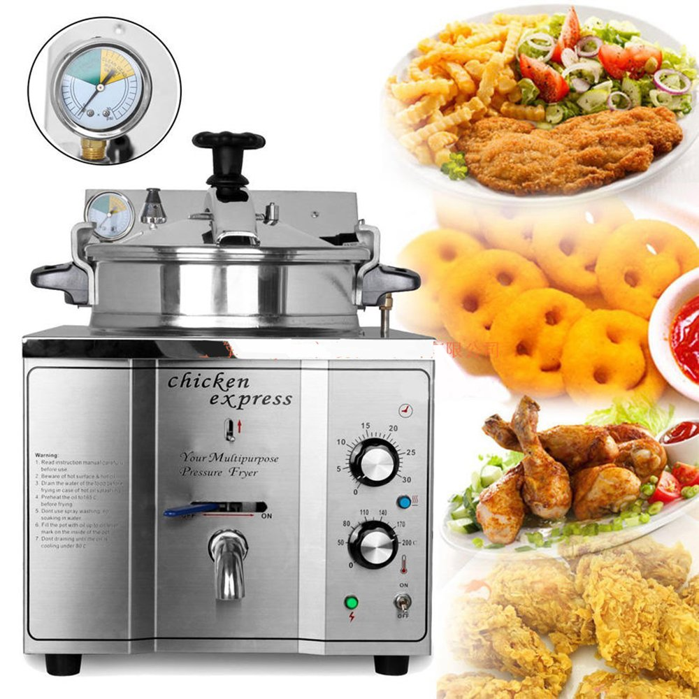 3KW 15L Stainless Steel Commercial Electric Pressure chicken Deep Fryer Fry Frying Machine 110V/220V