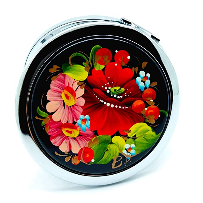 Petrykivka Ethnic Floral Design Hand Painted in Ukraine Round Cosmetic Makeup Double-Sided Pocket Mirror for Purses and Handbags, Small and Unique Gift for Women, Quality Metal and Wood (Rose Flowers)