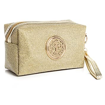 2bb105864d Amazon.com   YABINA Handy Cosmetic Large Pouch Clutch Bright Solid Color Makeup  Bag (Gold)   Beauty