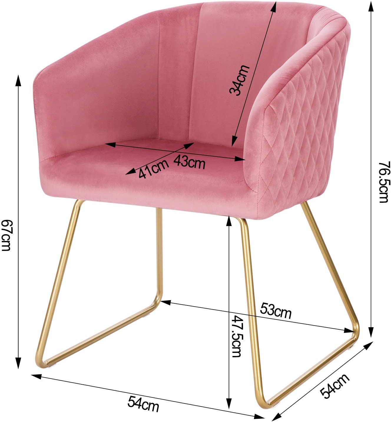 WOLTU 4X Sedie per Camera da Letto Moderne in Velluto Comfort Poltrona Imbottita Gambe Dorato di Metallo Bordeaux BH271bd-4