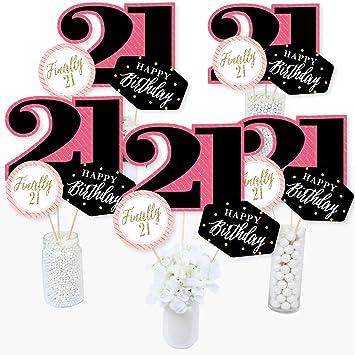 Finally 21 Girl - Juego de 15 palos de centro de mesa para fiesta de 21 cumpleaños: Amazon.es: Juguetes y juegos
