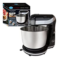 Quest 34440 3 Litre Compact 6 Speed Watt Stand Mixer with Stainless Steel Bowl and Dough Hook and Beater