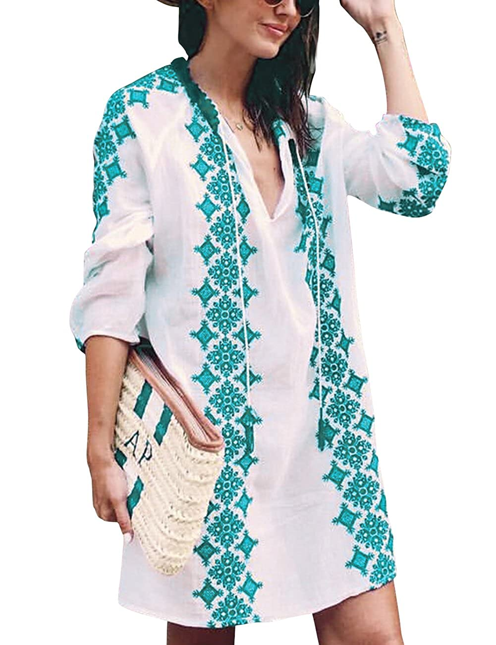 0eb149be682 Sanifer Women s Long Sleeve Beach Cover Up Dress Embroidered Bohemian  Beachwear Bathing Suits Cover Ups (US S-M)
