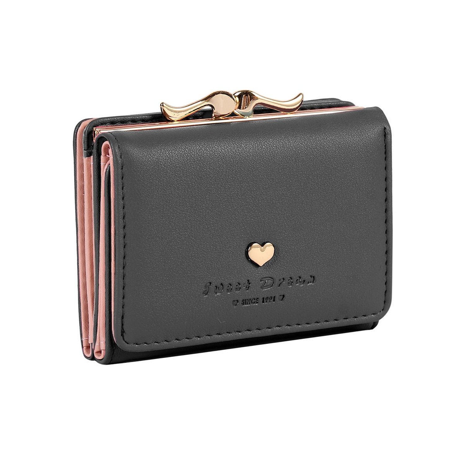 Jastore Girls Womens Small Clutch Leather Purse Cards Holder Wallet (Black)
