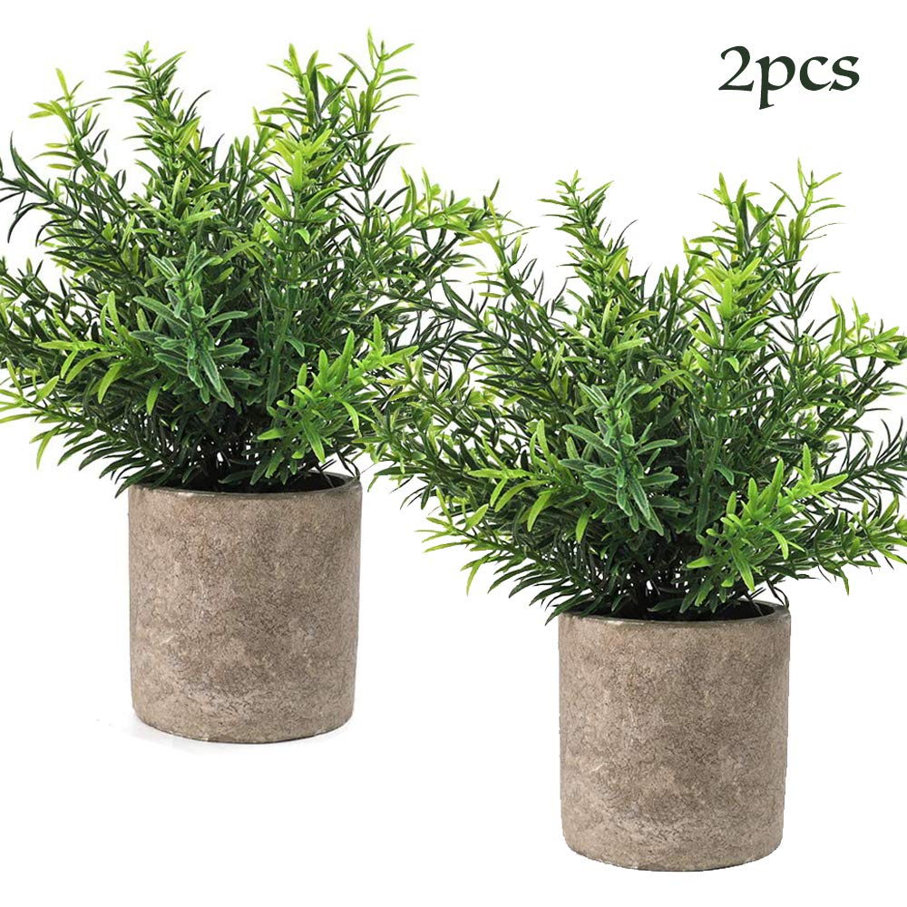 CEWOR 2pcs Artificial Potted Plants, Mini Fake Plastic Bamboo Leaves Plants for Home Office Party Decoration