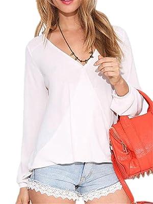 FCYOSO Women V-Neck Shirts Foldable Long Sleeve Casual Chiffon Blouse Top (US,L/Asia,XL) White