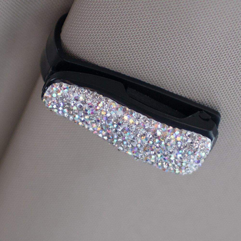 Sue dalimentation de voiture Visor Lunettes de soleil Clip Support Bling Cristal Rose Diamant Lunettes Accessoires pour filles et Femmes
