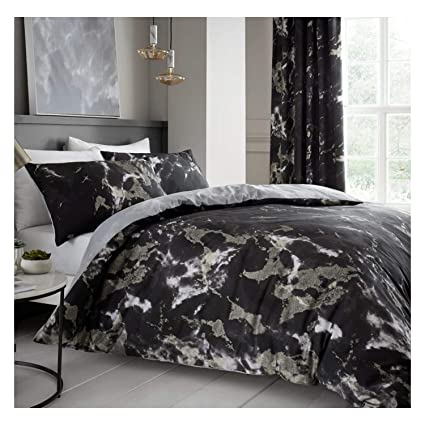 Luxury Marble Stripe Duvet Cover Bedding Set with Pillow Cases All Sizes