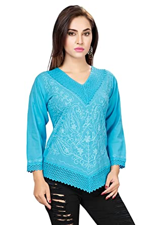 5dc93d7fde63c Ishin Cambric Cotton Blue Embroidered Party Wear Wedding Wear Casual Daily  Wear Festive Wear New Collection
