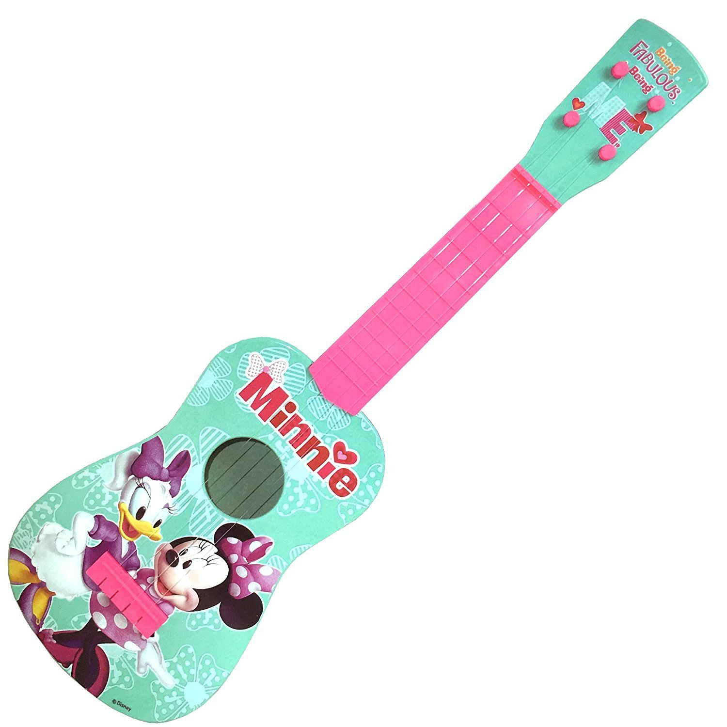 Disney Minnie Mouse Clubhouse Music Play Guitar | 4 Real Guitar String | 24 Inches long - Ukulele Size | Kids Educational Toy Gift.