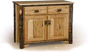 Amish Made in USA Rustic Hickory and Oak TV Stand with Glass Front Doors