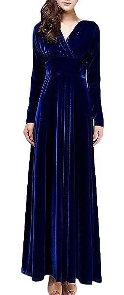 Mujer Vestidos De Fiesta Largos De Noche Elegantes Vintage Terciopelo De Manga Larga V Cuello Ajustado