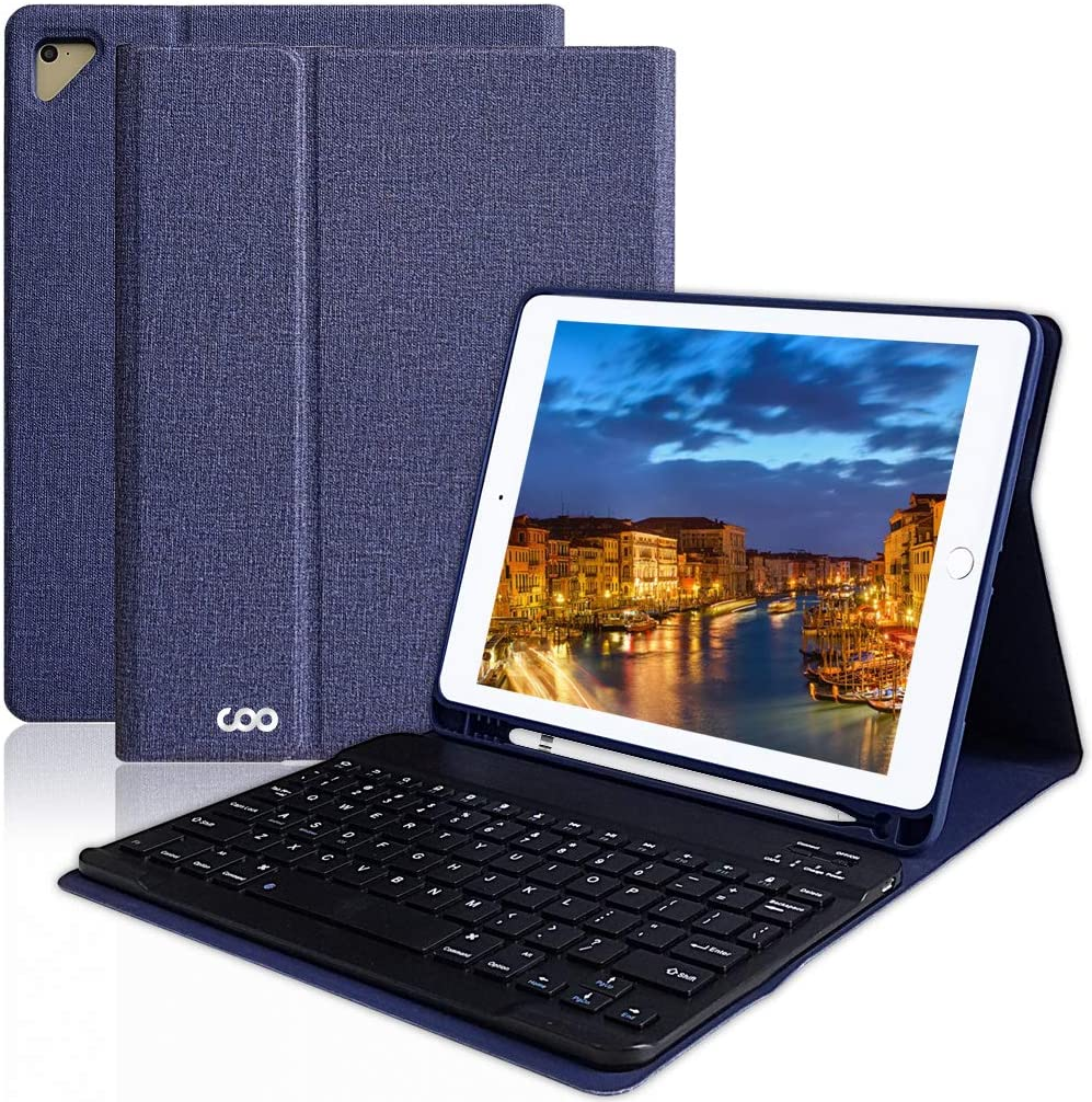 Keyboard 9.7 iPad Case 6th Gen for New iPad Pro 2018/2017 (5th Gen), iPad Air 2/Air, Wireless Bluetooth Detachable Protective Cover with Pencil Holder, Smart Auto Sleep-Wake (Dark Blue)