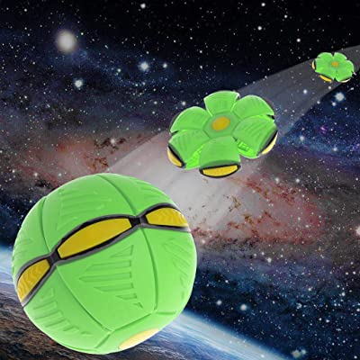 Yeahii Flying UFO Flat Throw Disc Ball With LED Light Toy Kid Outdoor Garden Beach Game (Green): Sports & Outdoors