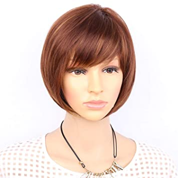 Aimr Natural Wigs Straight Synthetic Hair Wig Short Heat Resistant Bob Blonde Brown Mixed Color Ombre