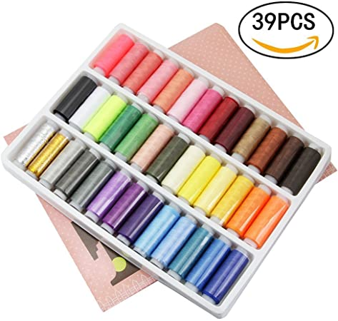 New 39PCS//Set Assorted Colorful Polyester Sewing Thread Spools Bobbin