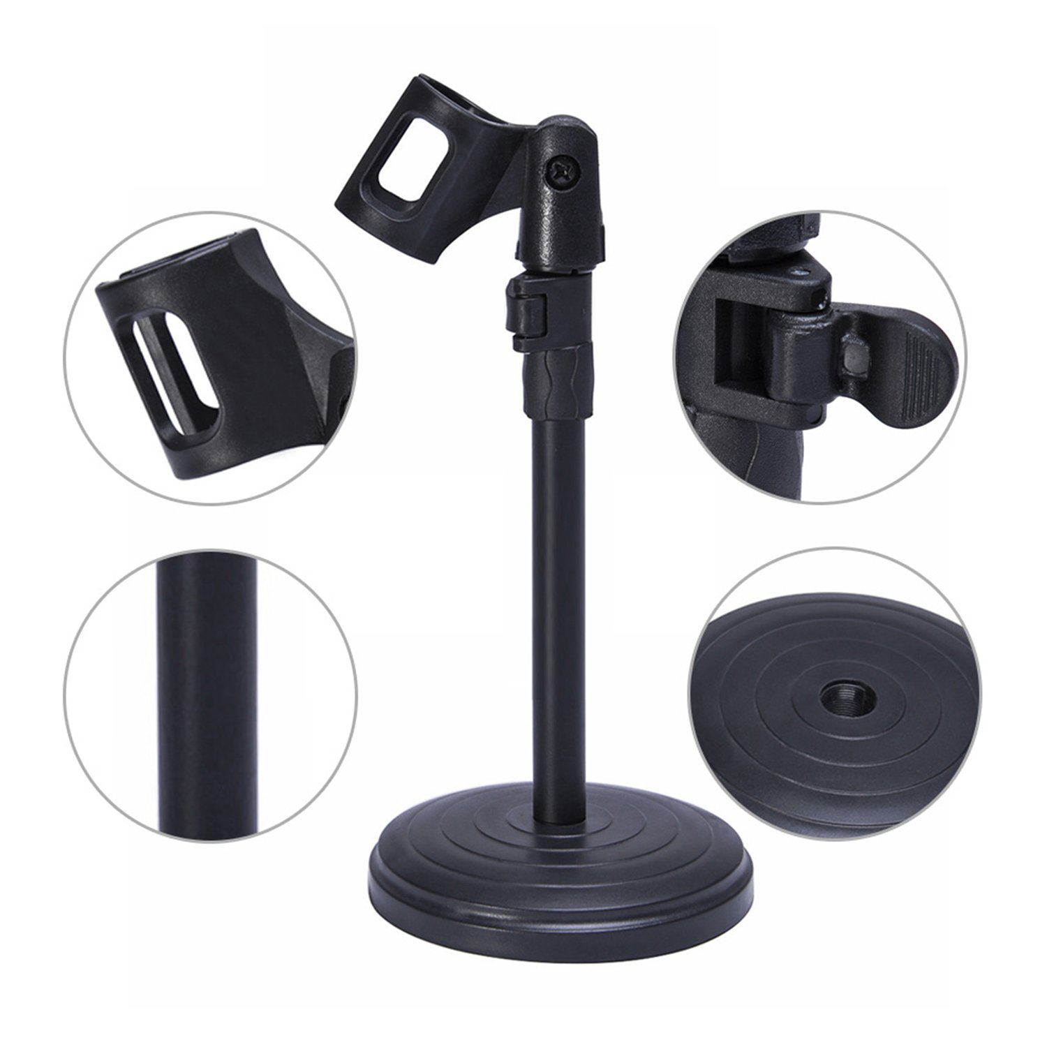 Mudder Adjustable Foldable Desk Microphone Stand With Mic Clip For Holder Recording Meetings Lectures And Podcasts Studio Equipment Musical Instruments Tibs