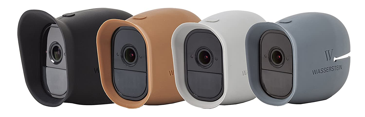 Wasserstein 4 x Silicone Skins Compatible with Arlo Pro & Arlo Pro 2 Smart Security - 100% Wire-Free Cameras (Black/Brown/Grey/Blue)