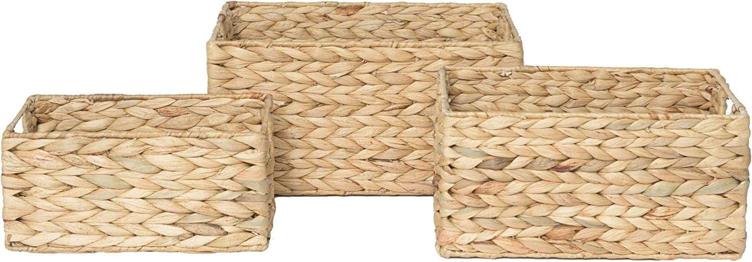 RGI Home Rectangular Bin Set for Organizing - Deluxe Hand Woven Wicker Decorative Storage Organizers with Built In Handles, Set of 3 (Natural Hyacinth)