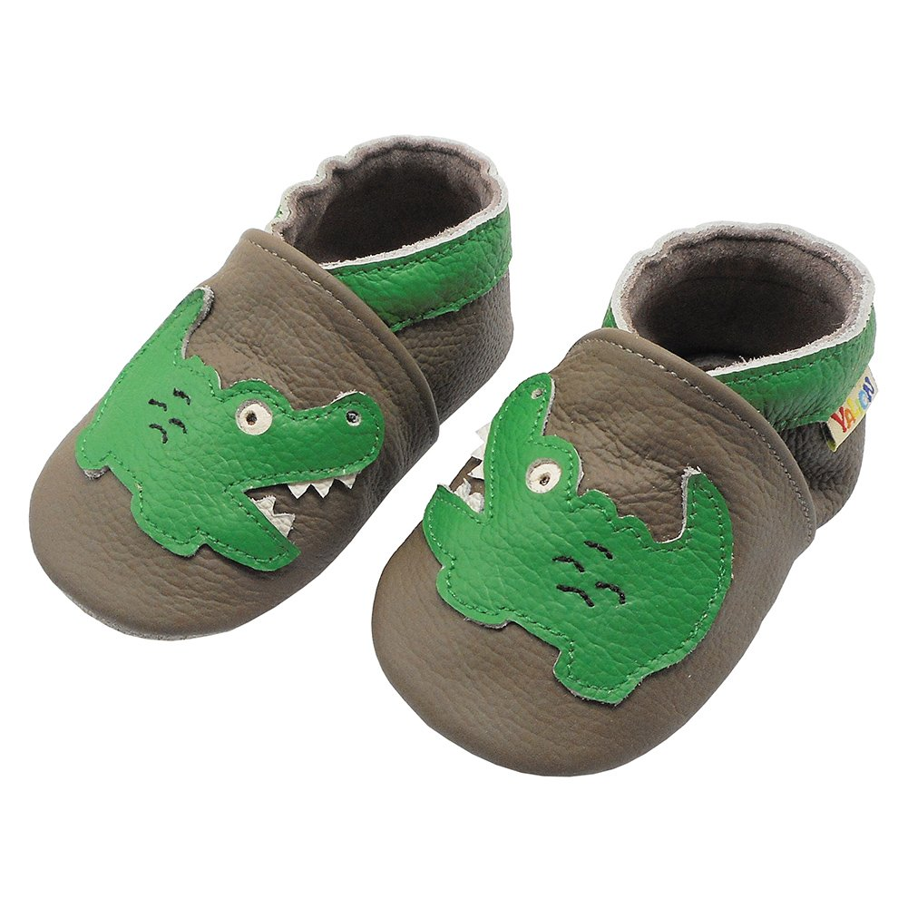Yalion Soft Leather Baby Toddler Shoes First Walking Indoor Crib Moccasins with Cartoon Crocodile