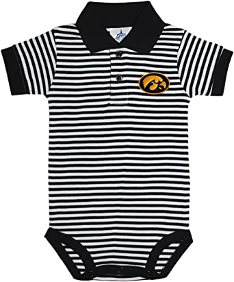 University of Iowa Hawkeyes Striped Footed Baby Romper