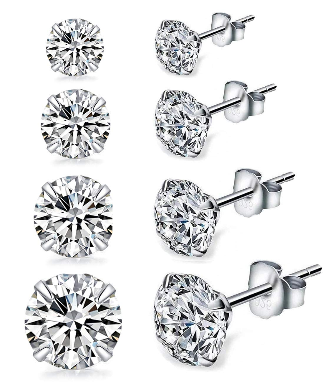 Sterling Silver Studs Earrings, 4 Pairs, Round Clear Cubic Zirconia 18K White Gold-Plated Hypoallergenic Tiny Earrings Sets for Women Girls, Fashion Earrings for Sensitive Ears priercing (3, 4, 5,6mm)