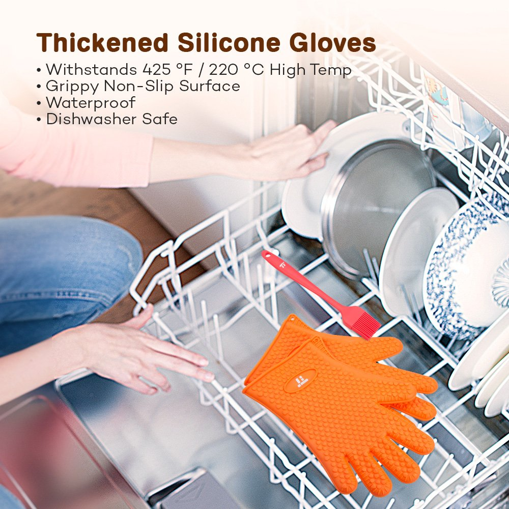 BBQ Gloves Heat Resistant, TaoTronics Meat Shredder Silicone and BBQ Brush, Grill Accessories, Perfect for Shredding Smoked Meat & Pulled Pork, Dishwasher Safe, FDA Approved by TaoTronics (Image #4)