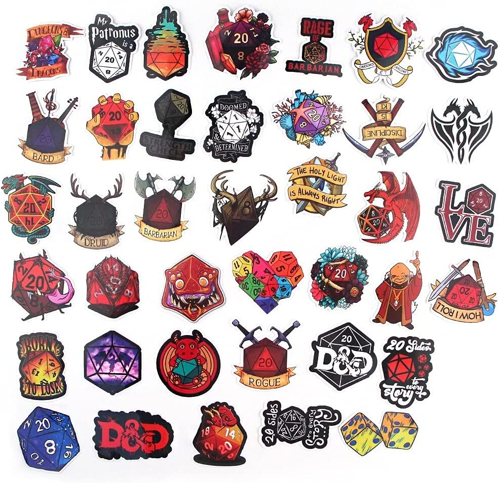 39 Pcs/Set Dungeons and Dragons Stickers Game Sticker Car Luggage Waterproof Cartoon Sticker for Phone Guaitar Skateboard Sticker .Dungeons and Dragons Decals