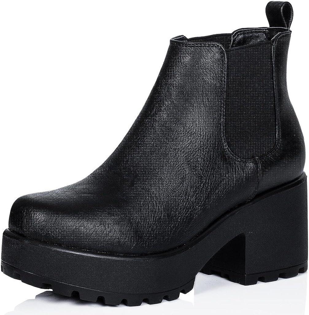 FANIMILA Women Motorcycle Boots Chunky Heels Fashion Boots Platform