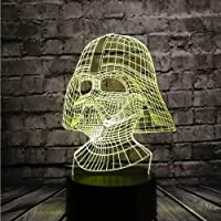 New Acrylic 3D Night Light Star Wars Darth Vader Dark Warrior LED 7 Color USB Remote Change Table Lamp Holiday Party…