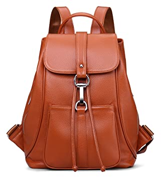 d1dae88063 New vintage Women Real Genuine Leather Backpack Purse SchoolBag by Coolcy  (Brown)